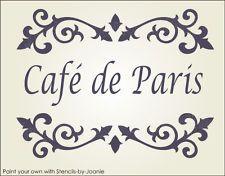 STENCIL Cafe de Paris Shabby Cottage French Chic Fancy Scroll border designs