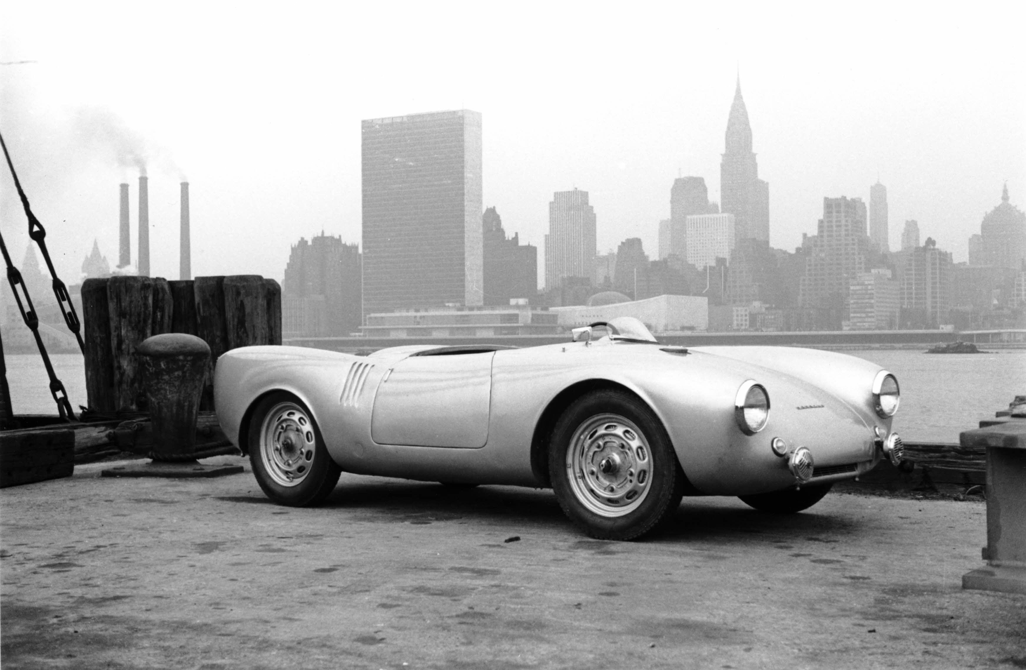 Porsche 550 spyder pictured in new york 1950
