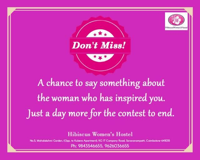 #HibiscusContest #LastDay #Win #Price   Participate and Win prizes from Hibiscus!   The contest is going to end. Comment and share about the woman who has inspired you.