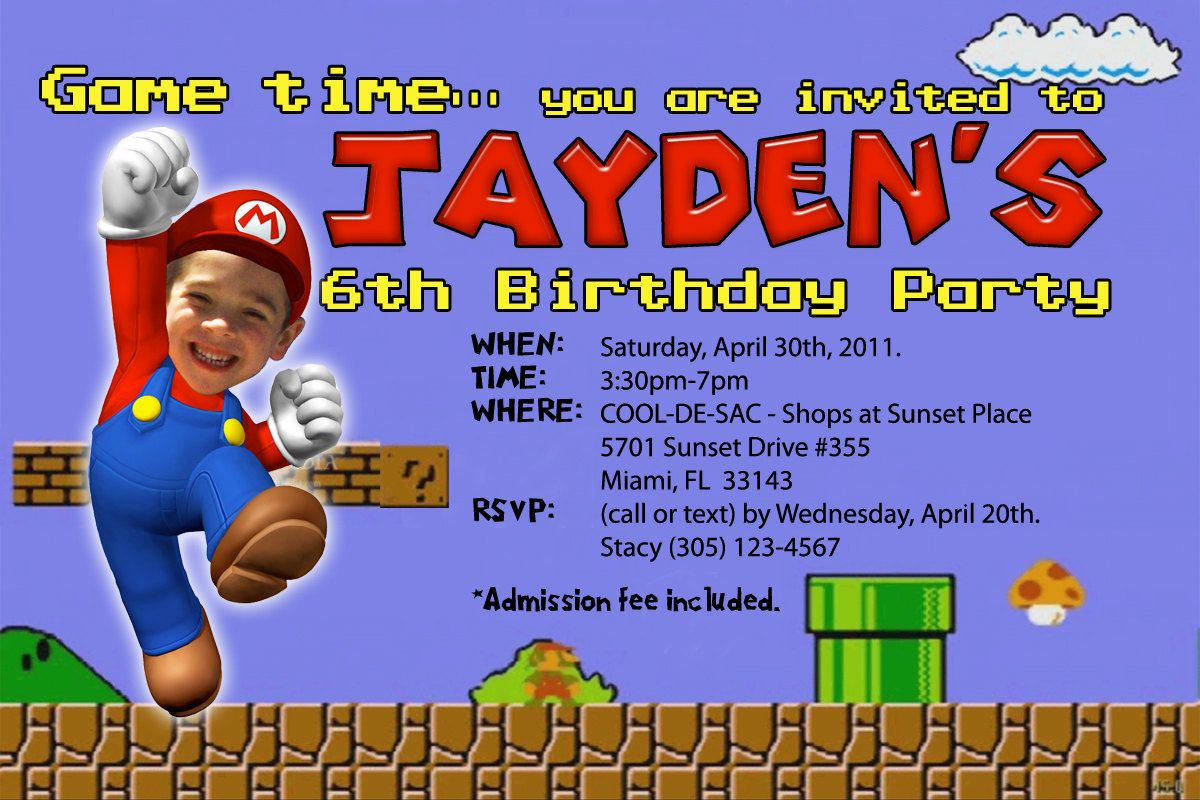 Super Mario Brothers Invitations Custom Designed With Your Child As Mario