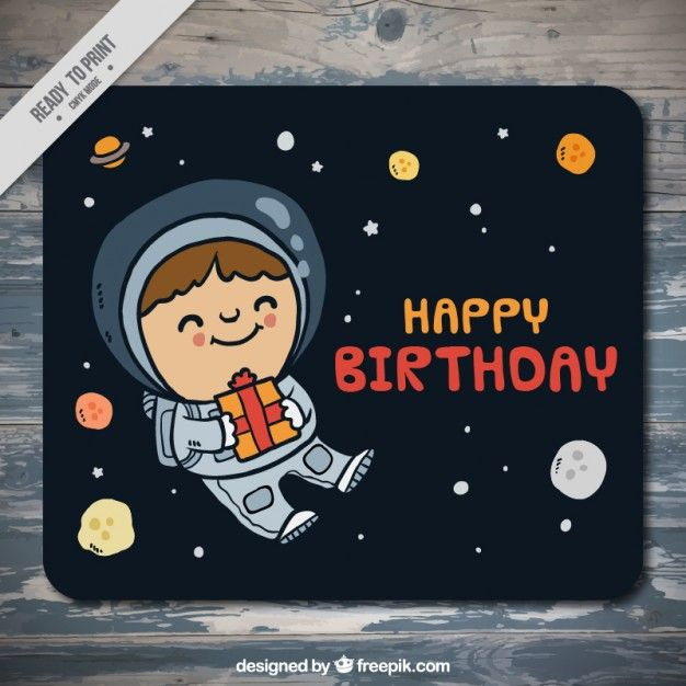 Hand Drawn Astronaut In The Space Birthday Card Free Vector Robs