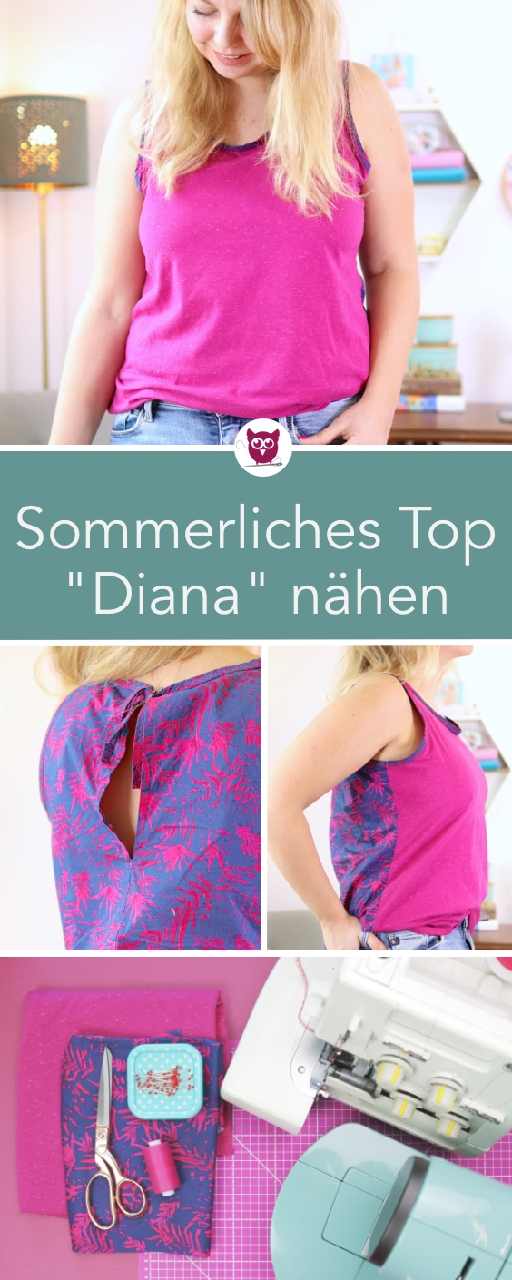 """Sommerliches Top / Bluse """"Diana"""" nähen Diana, Tops, Bluse"""
