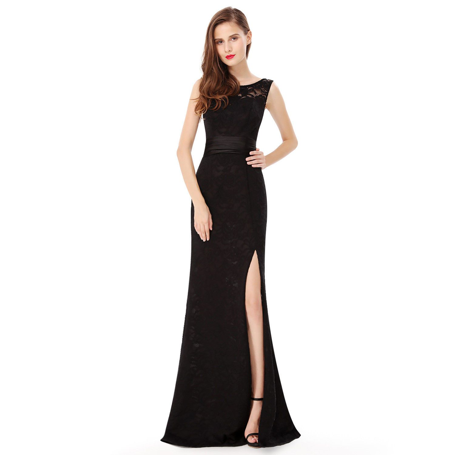 Nice awesome long black chiffon evening gown bridesmaid dresses