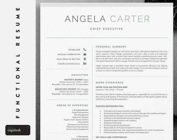One Page Executive Resume Template Instant Download
