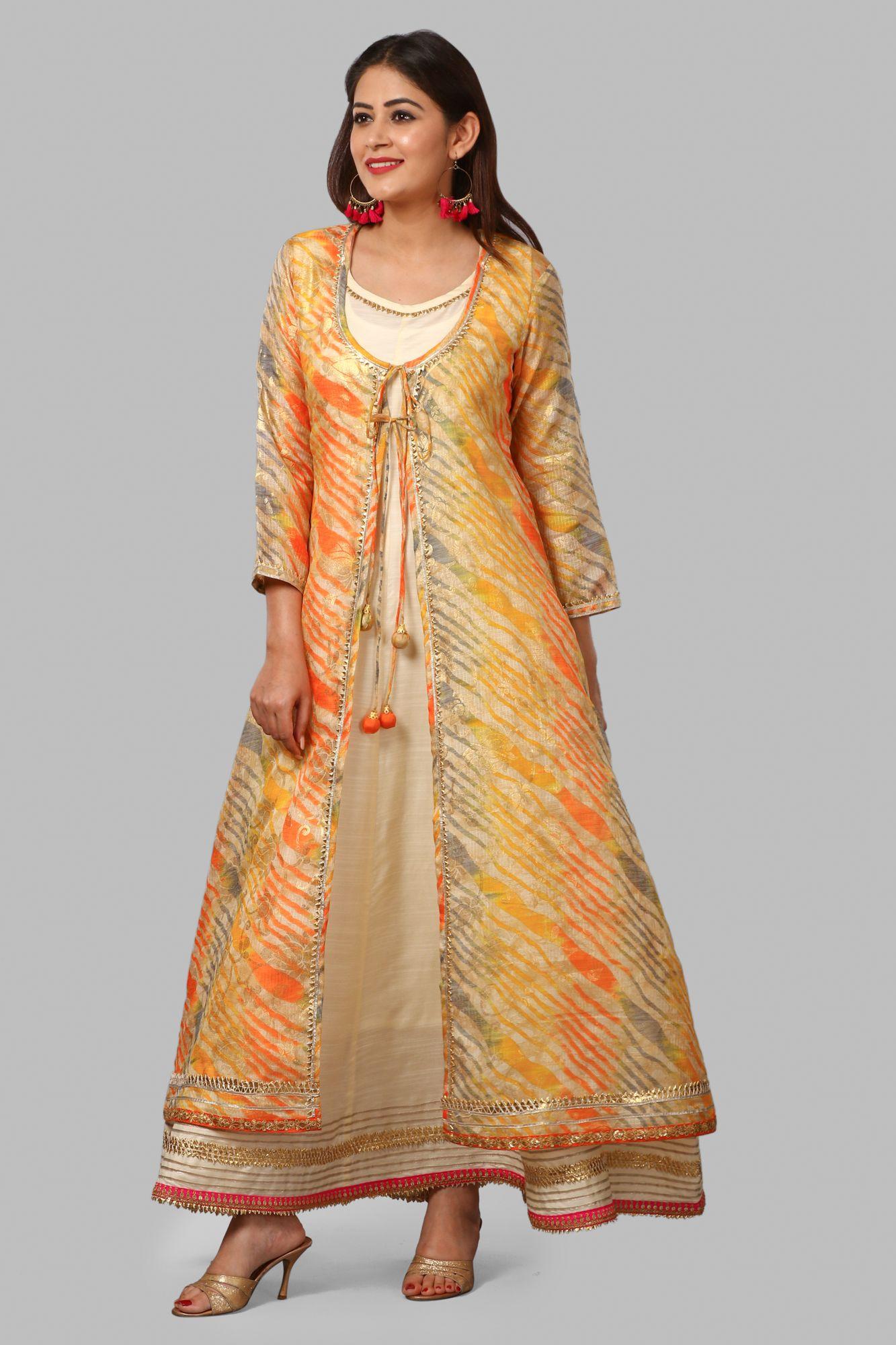 231801365 Off-White Silk Gotta Floor Length Kurti with Orange Kota Doriya Foil ...