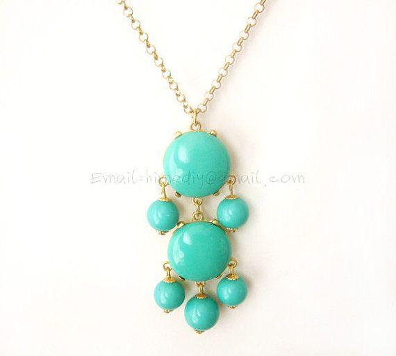 Aqua 2 stone Bubble Tassel Necklace by himediy, $10.00