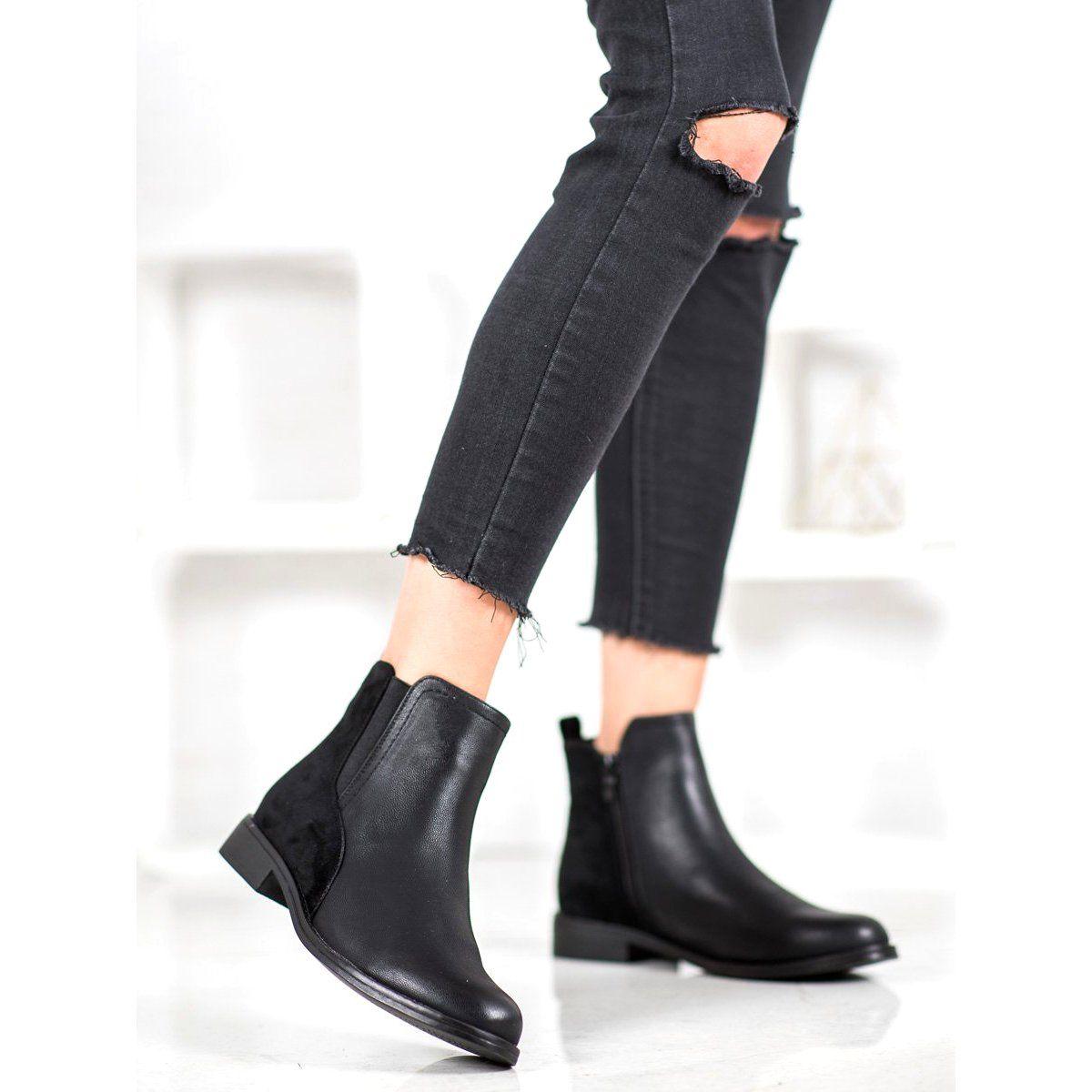 J Star Eleganckie Czarne Botki Shoes Ankle Boot Boots