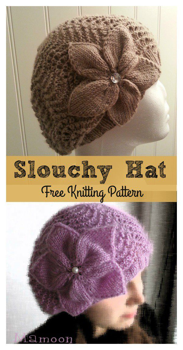 Slouchy Lace Hat Flower Free Knitting Pattern | Knitting and Crochet ...