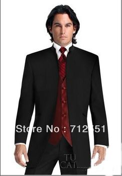b2eb6fc360f4 Black Suit Burgundy Vest Groom Tuxedos Mandarin Lapel Best Man Groomsmen  Men Wedding Suits Bridegroom (Jacket+Pants+Tie+Vest)