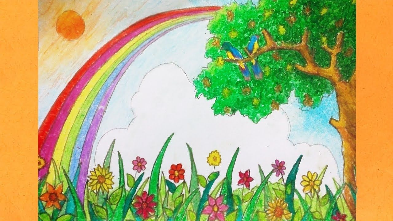How To Drawing Rainbow Scenery Landscape Coloring Art
