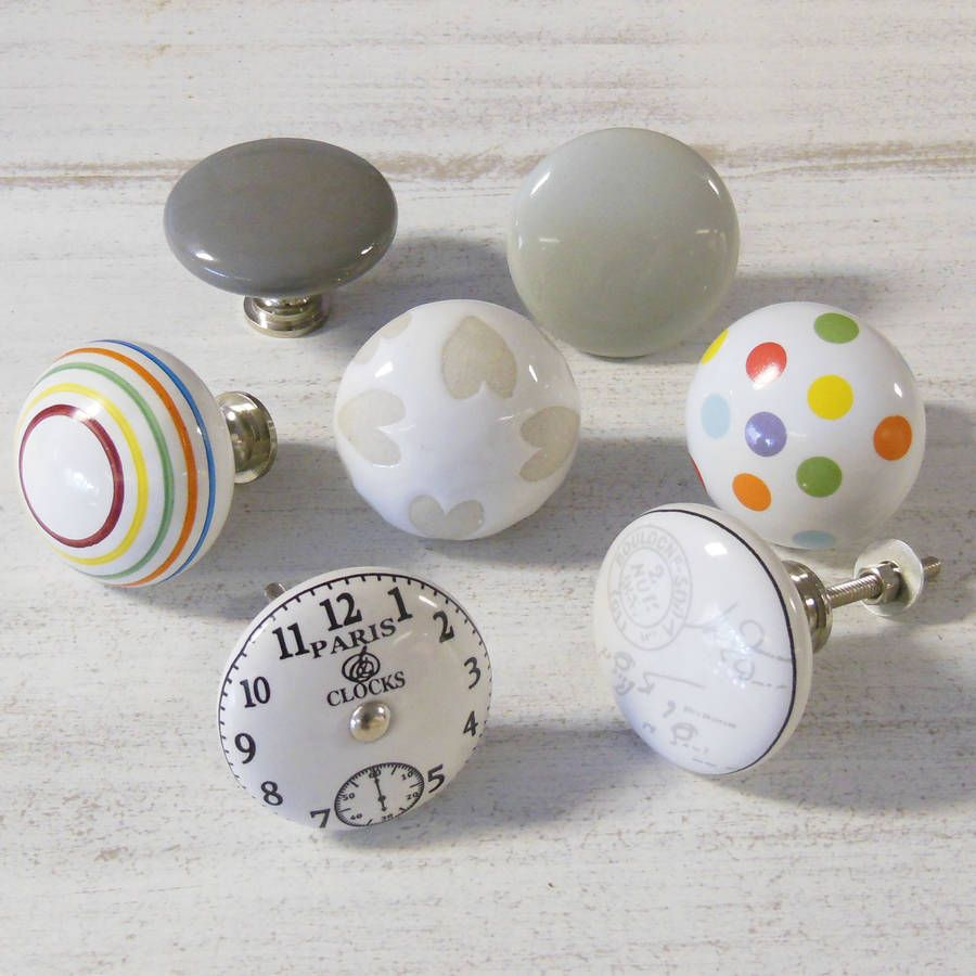 Extra Large Vintage Colourful Ceramic Cupboard Knobs