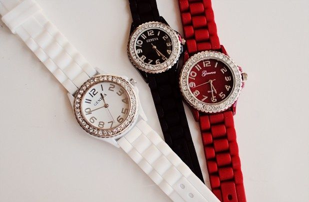 GroopDealz | Rhinestone Watch with Large Face #watches #fashionjewelry