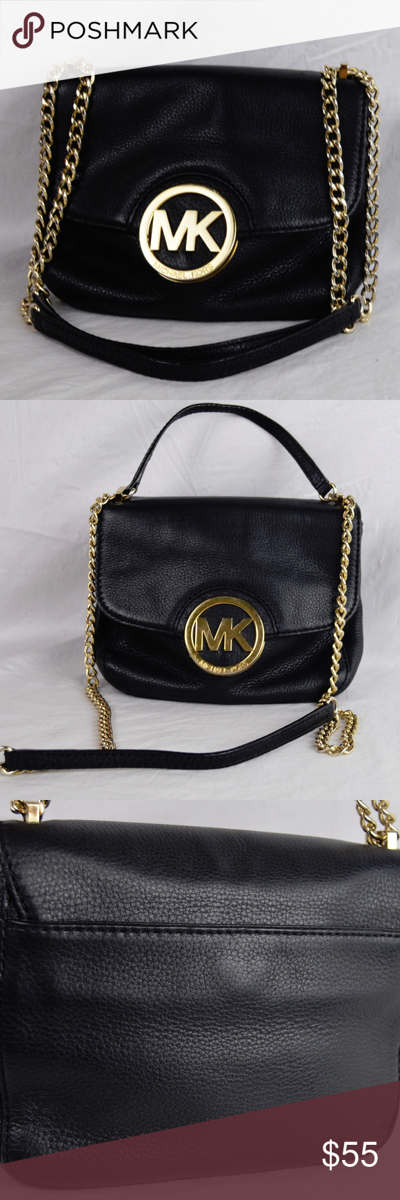 68202fe9a3bf44 Michael Kors MK 2 Way Mini Flap Bag In good condition, light wear to logo.  Can be crossbody if you are petite. Strap drop 19. Bag measures 8 x 6  Michael ...