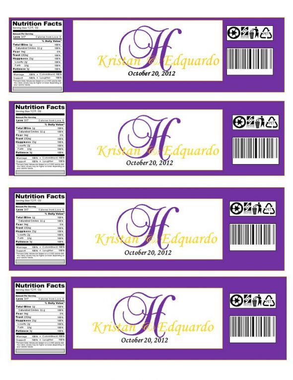 Monogram Water Bottle with Nutrition Facts Aw! Wedding Favor - ingredient label template