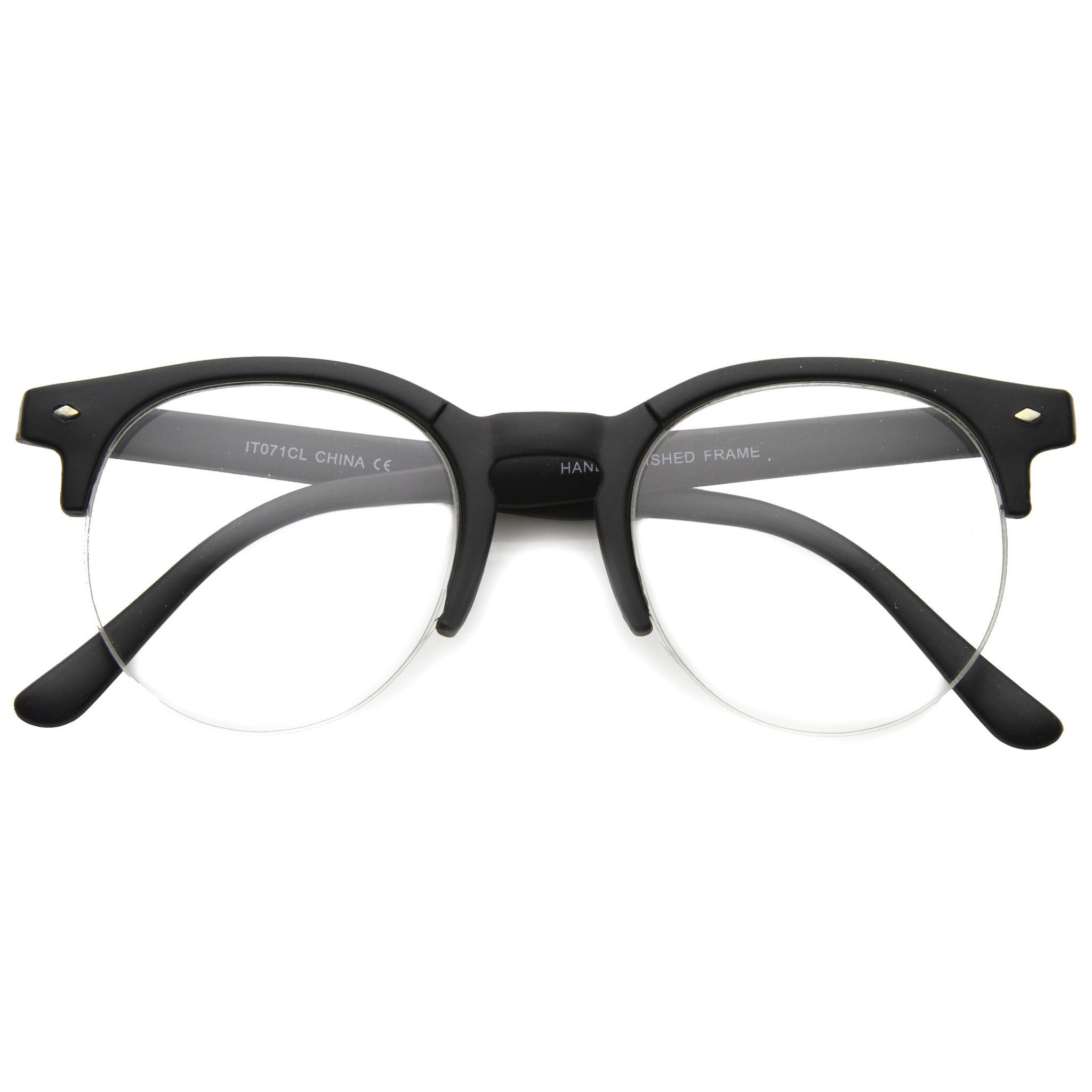 Indie Dapper Round Half Frame Clear Lens Glasses A061 | Accessories ...