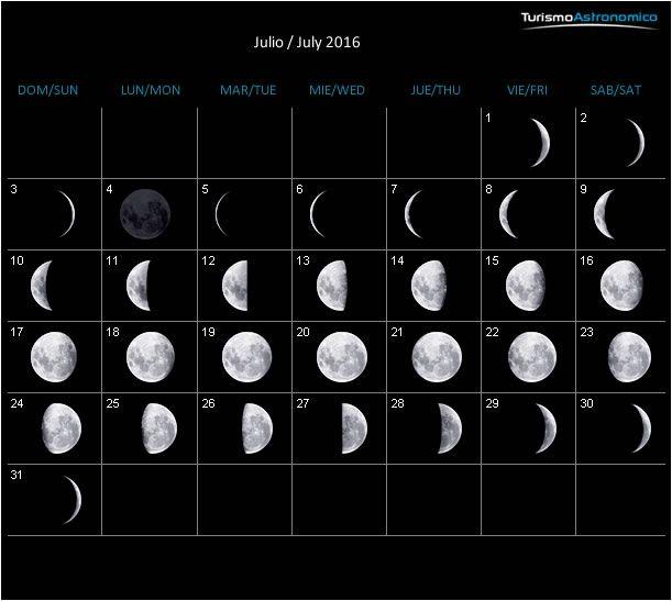 Calendario Lunar Julio 2016 Luna Pinterest