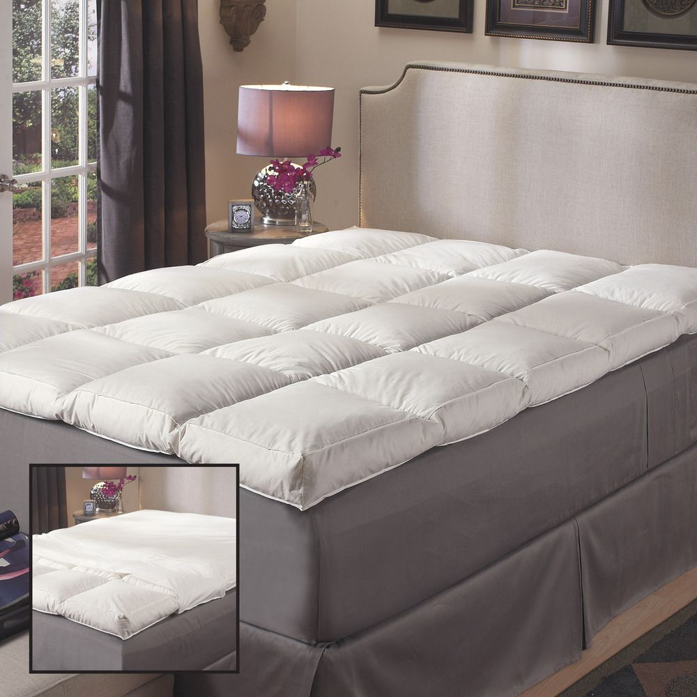 Super Snooze 5 Inch 230 Thread Count Baffled White Featherbed Set Mattress Bedding Basics Bed