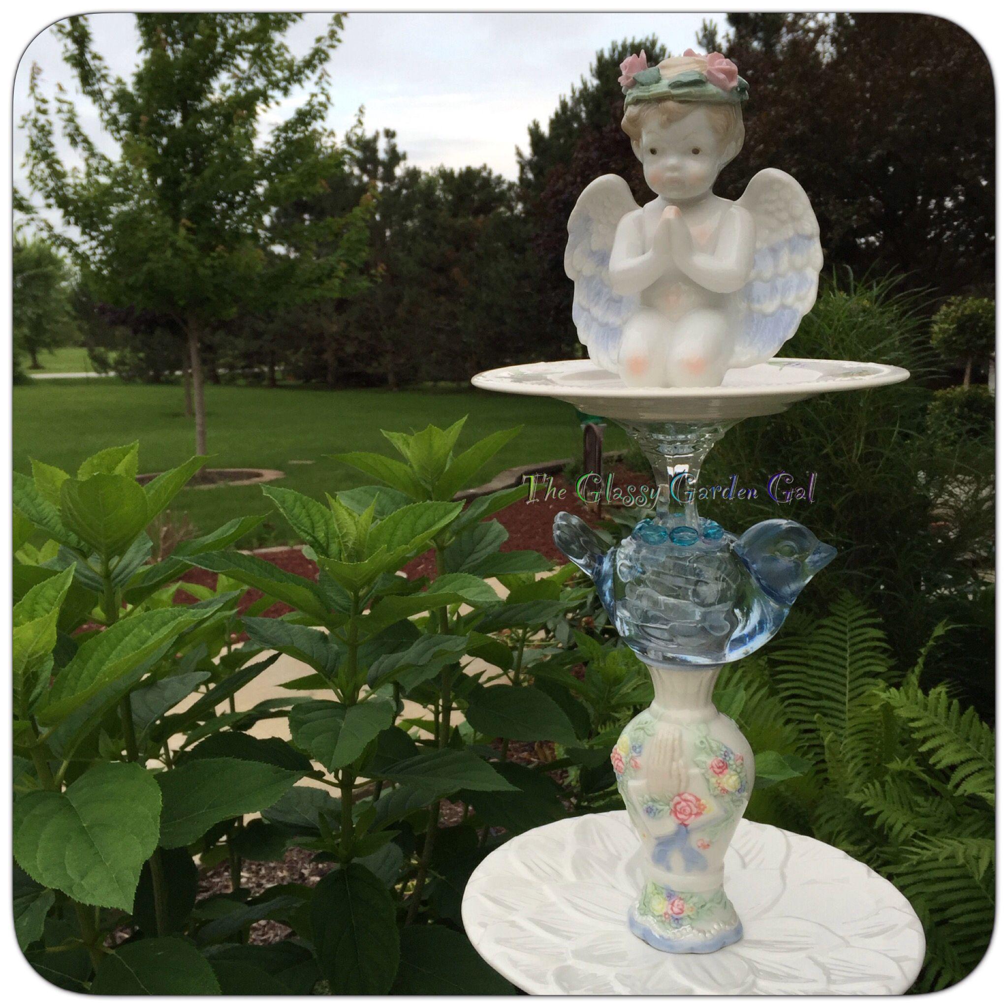 Glass garden Art, yard art, glass garden Angels, handmade garden ...