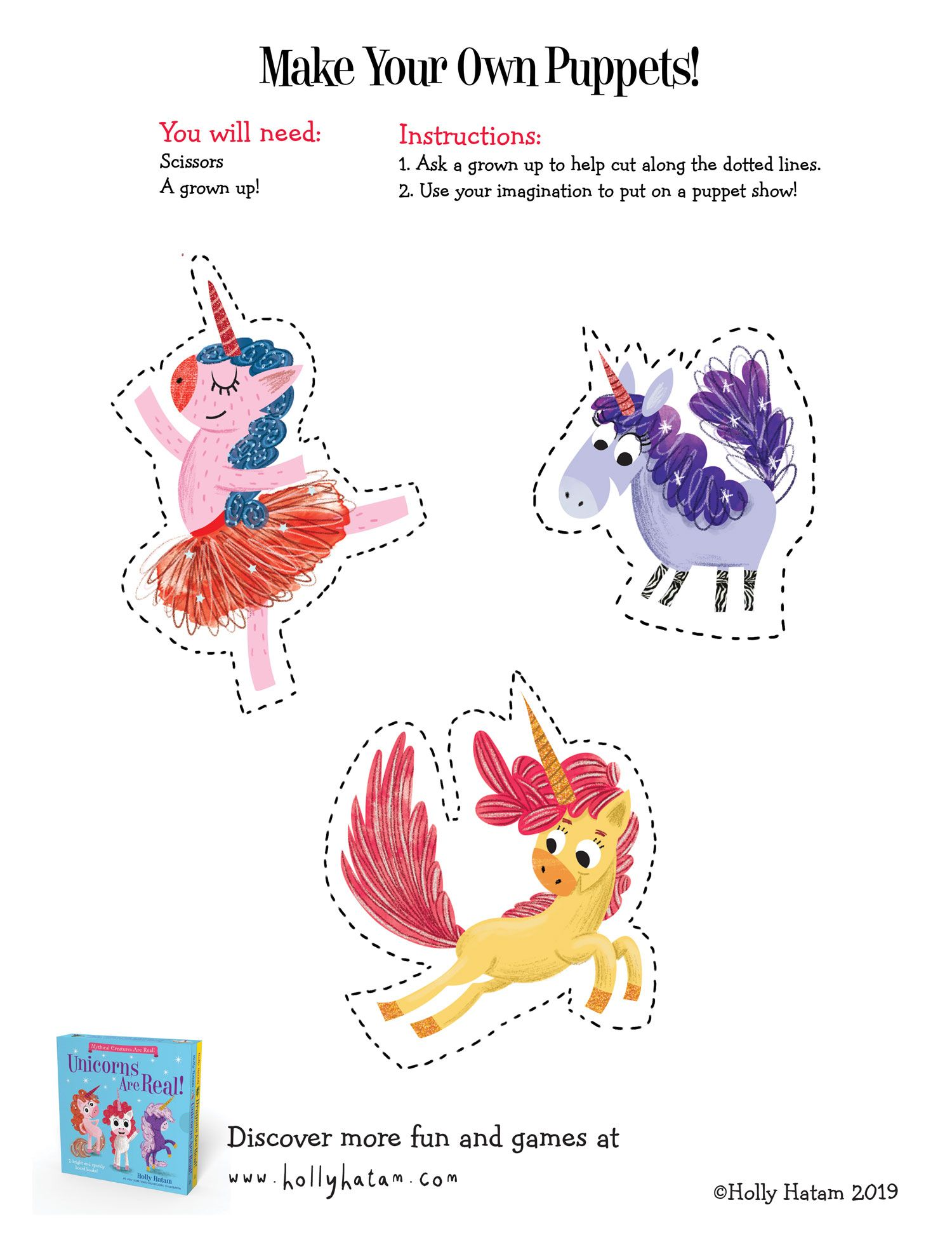Unicorn Day Is April 9 Make Your Own Unicorn Puppets And Put On A Show Mythical Creatures Real Unicorn Make Your Own