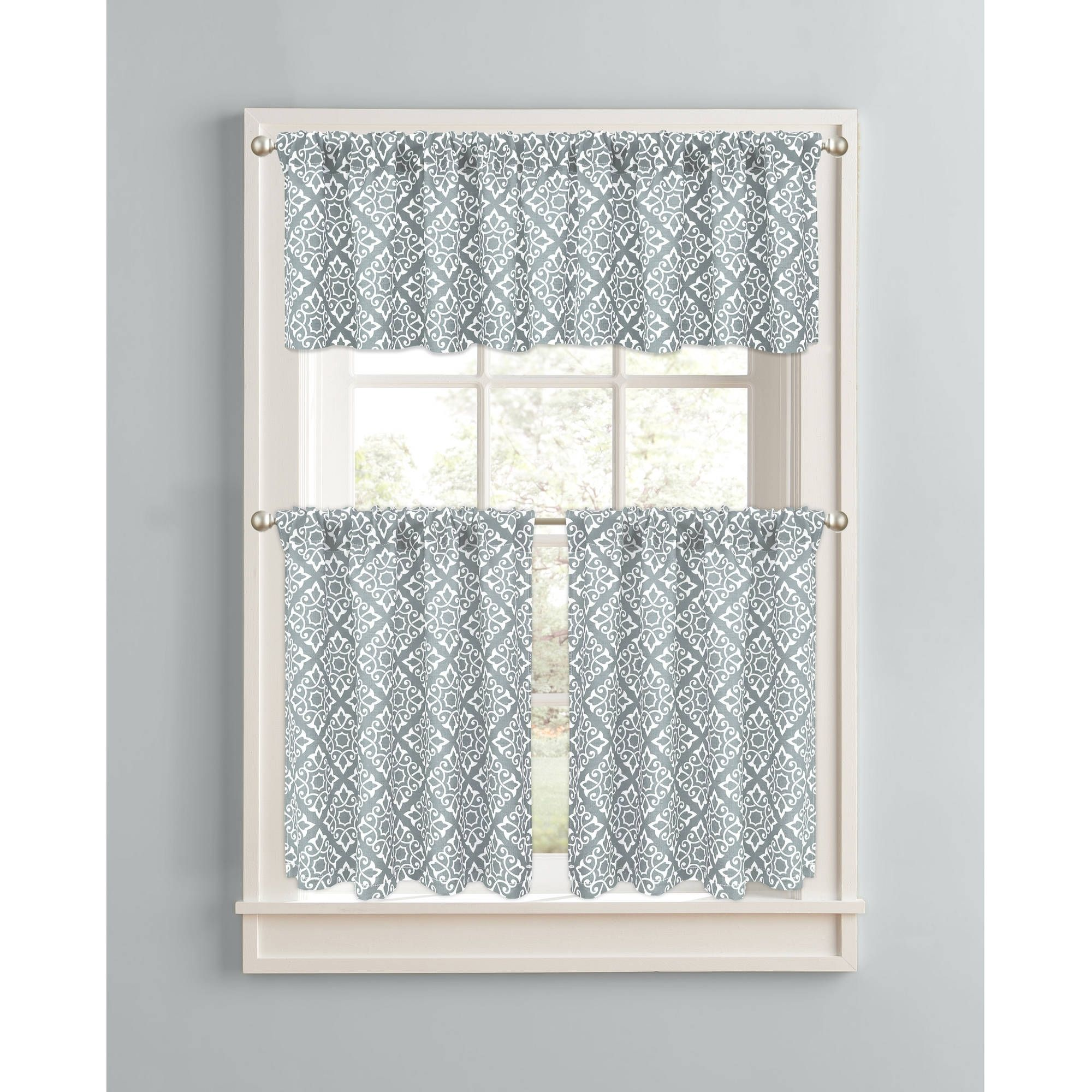 Attractive Aqua And White Kitchen Curtains