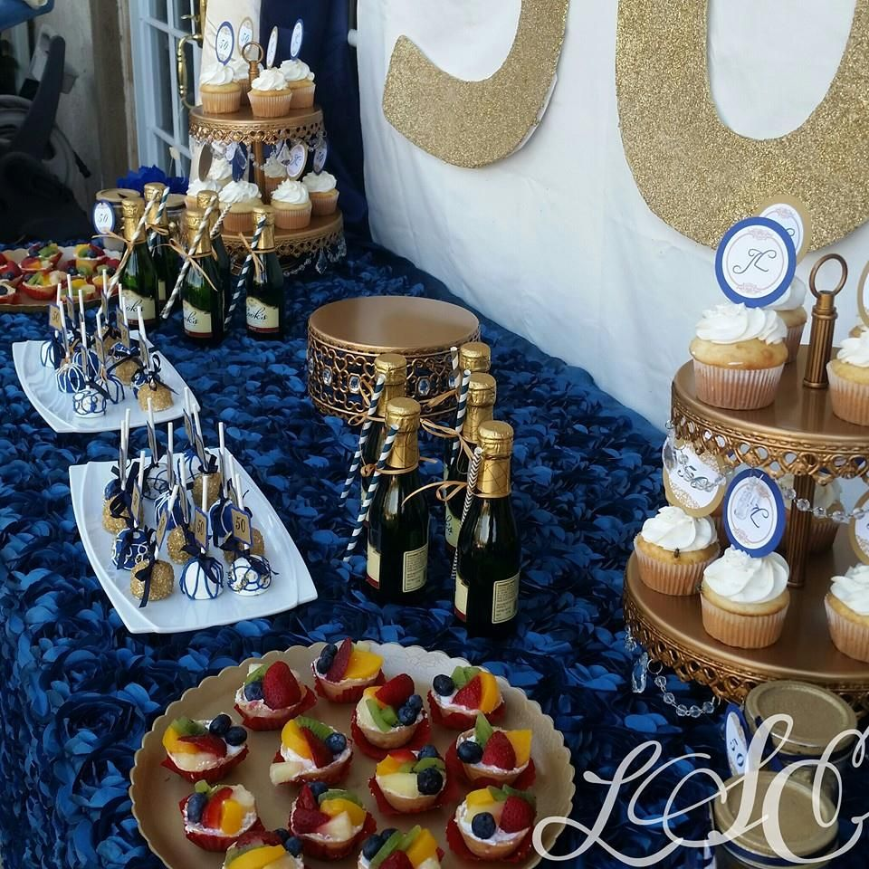 Blue Gold Dessert Table With Images Gold Dessert Table