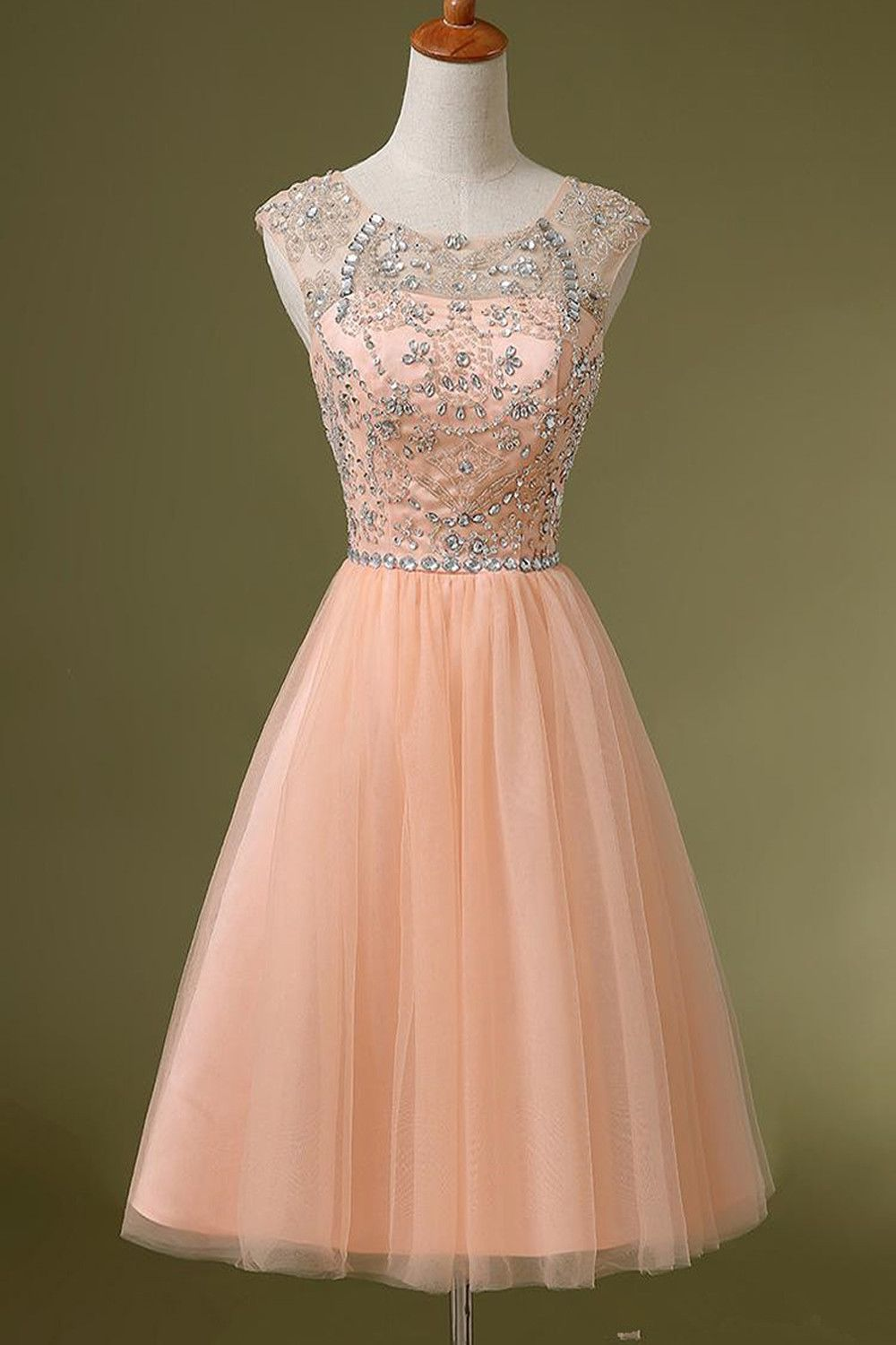 Blush pink backless tulle short promhomecoming dresses maybe one