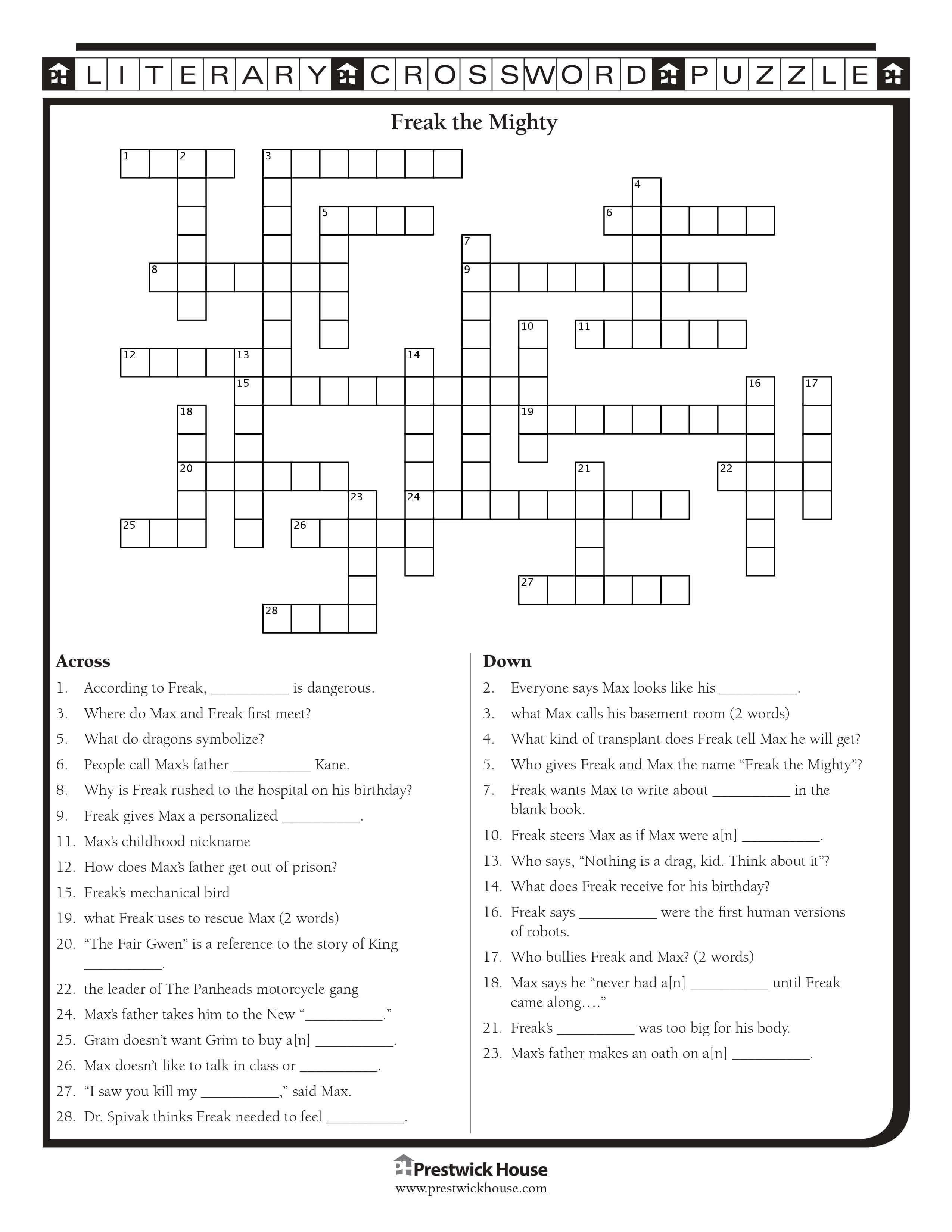 Freak The Mighty Crossword Puzzle Freak The Mighty Printable Crossword Puzzles Crossword Puzzle