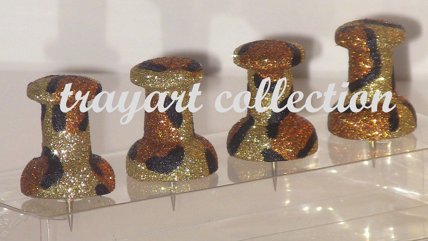 Jumbo Push Pins Gold Bronze Leopard Print For Cork Bullentin Boards Basic Office Clroom Or Houseware Supplies Trayart Collection 14 50 Via Etsy