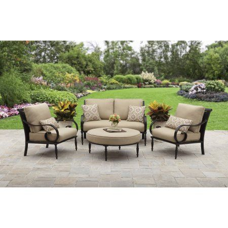 Better Homes And Gardens Englewood Heights II Aluminum 4 Piece Outdoor  Patio Conversation Set, Seats 4   Walmart.com
