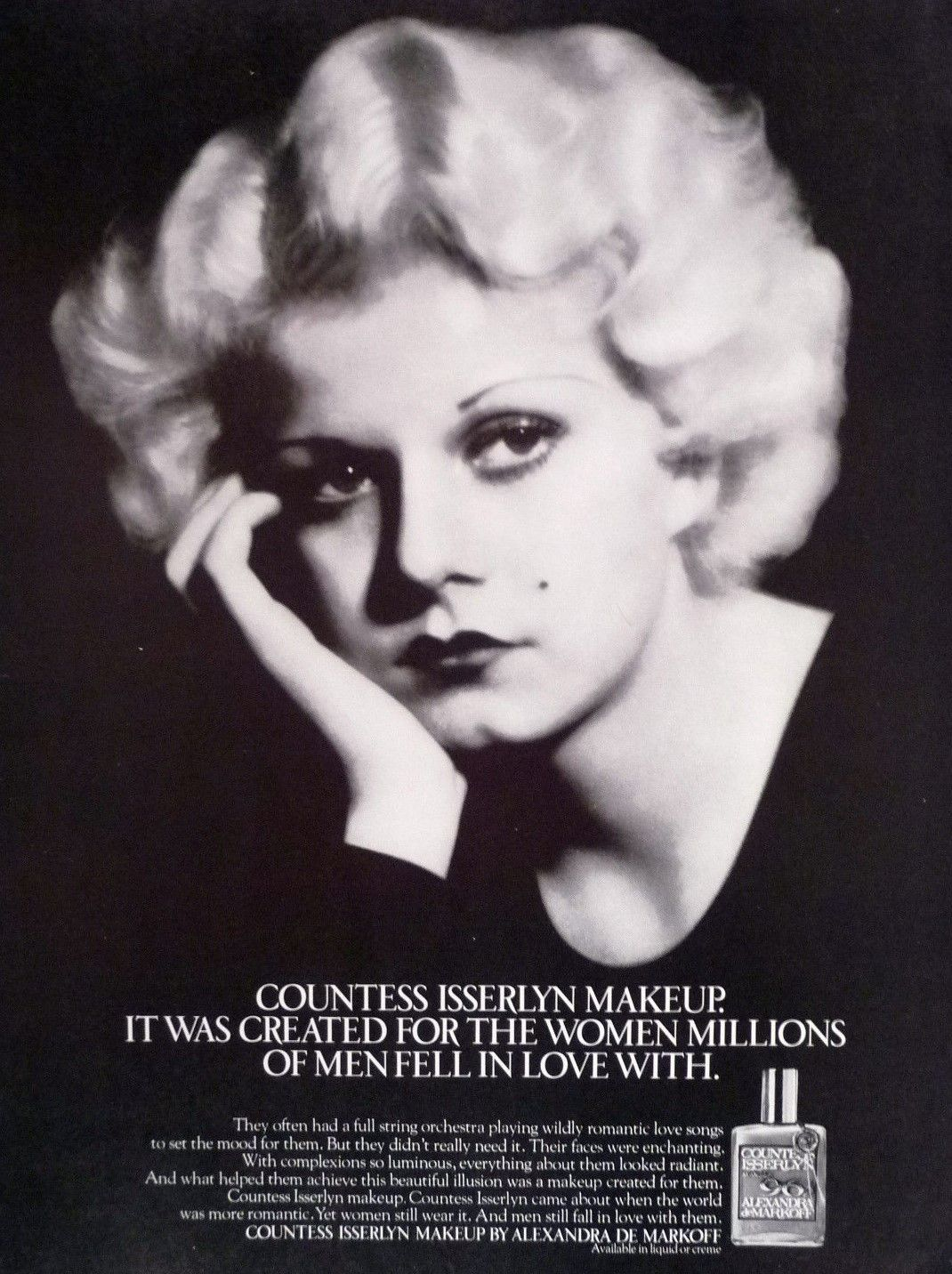 Jean Harlow In An Advertisement For Countess Isserlyn Makeup By