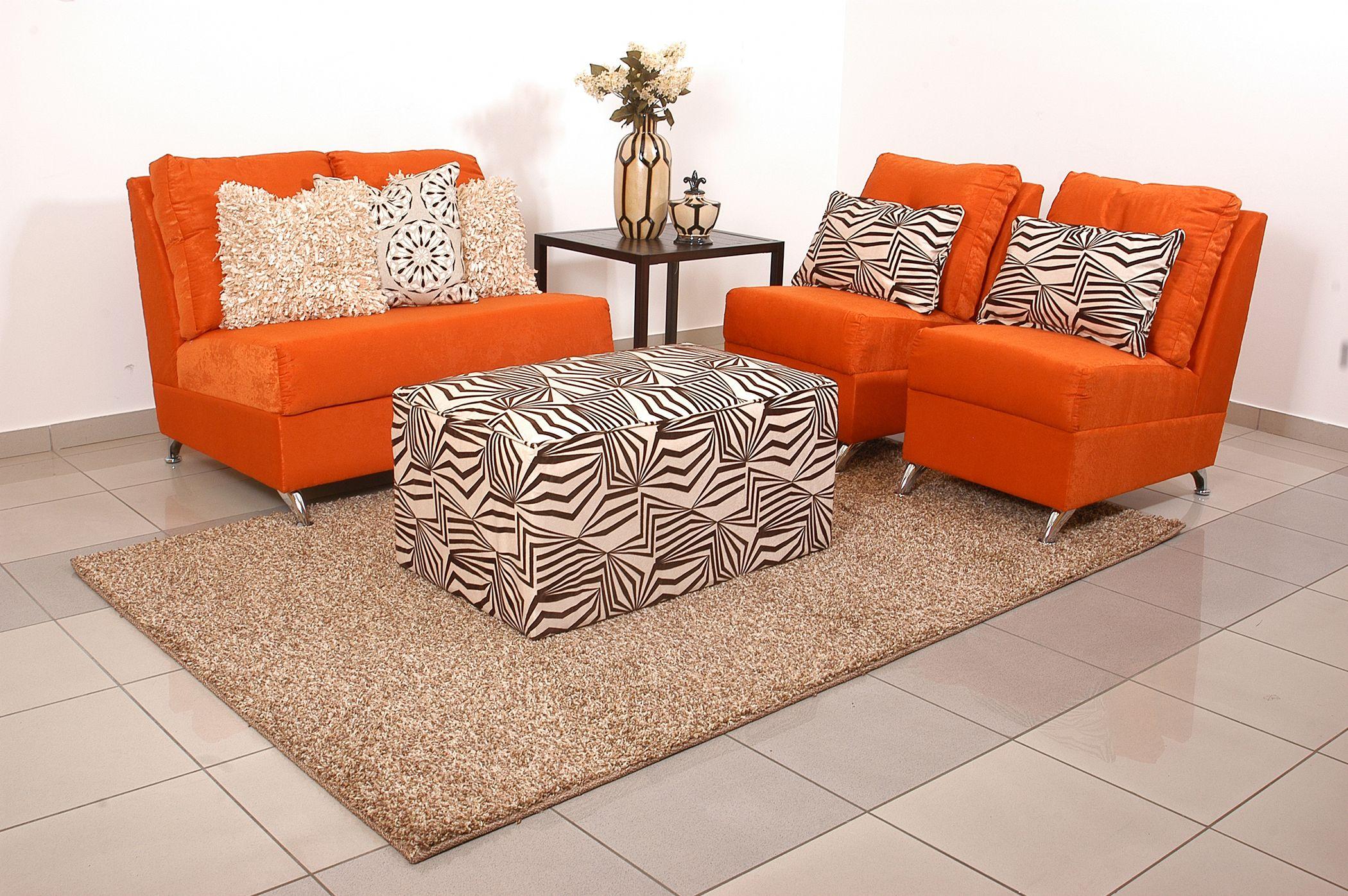 Juego de sala sof y 2 sillones ottoman mod palermo for Colores para muebles de sala