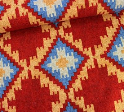 Ethno Muster Rauten Stoff rot, blau / #stofftrends #stoffe #nähen ...