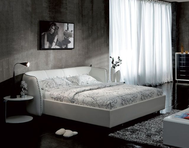 Vitali Microfiber Leather Bed White Design Inspiration