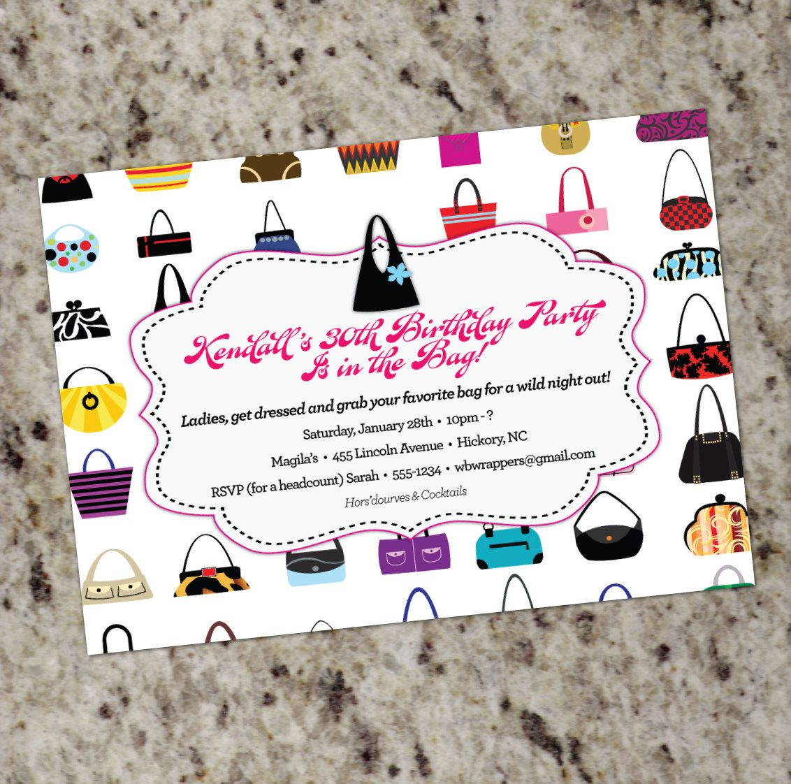 HANDBAGS GALORE Purse themed Invitations Any by Whirlibird | Old ...