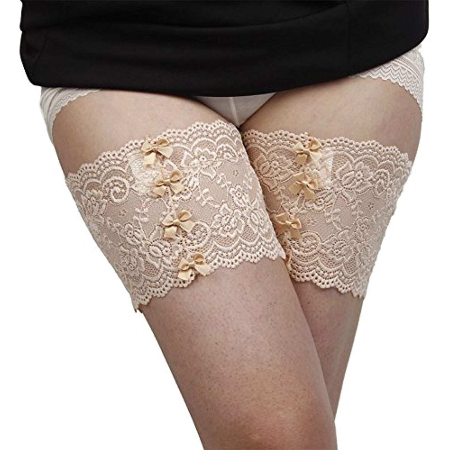 Women Sexy Lace Anti-Chafing No-Slip Silicone Thigh Bands with Bowknots    94201780c