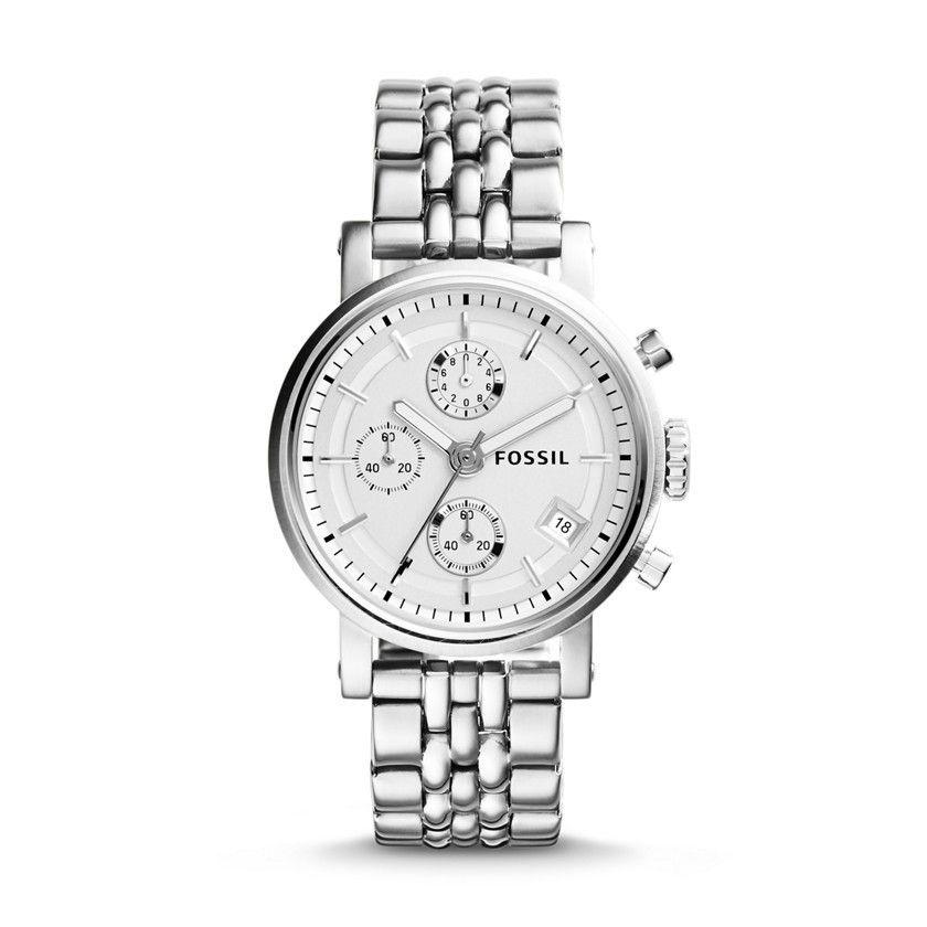 Women S Fossil Boyfriend Chronograph Steel Watch Es2198 Fossil Watches Silver Stainless Steel Watch Boyfriend Watch