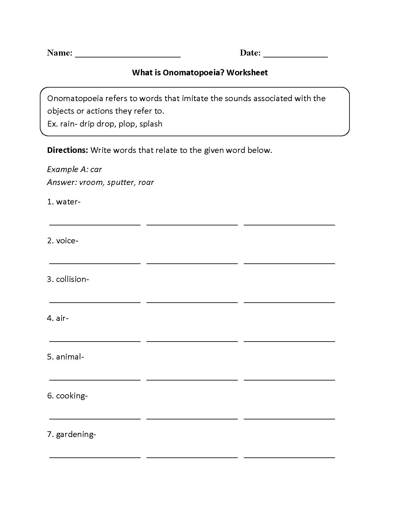 What Is Onomatopoeia Worksheet