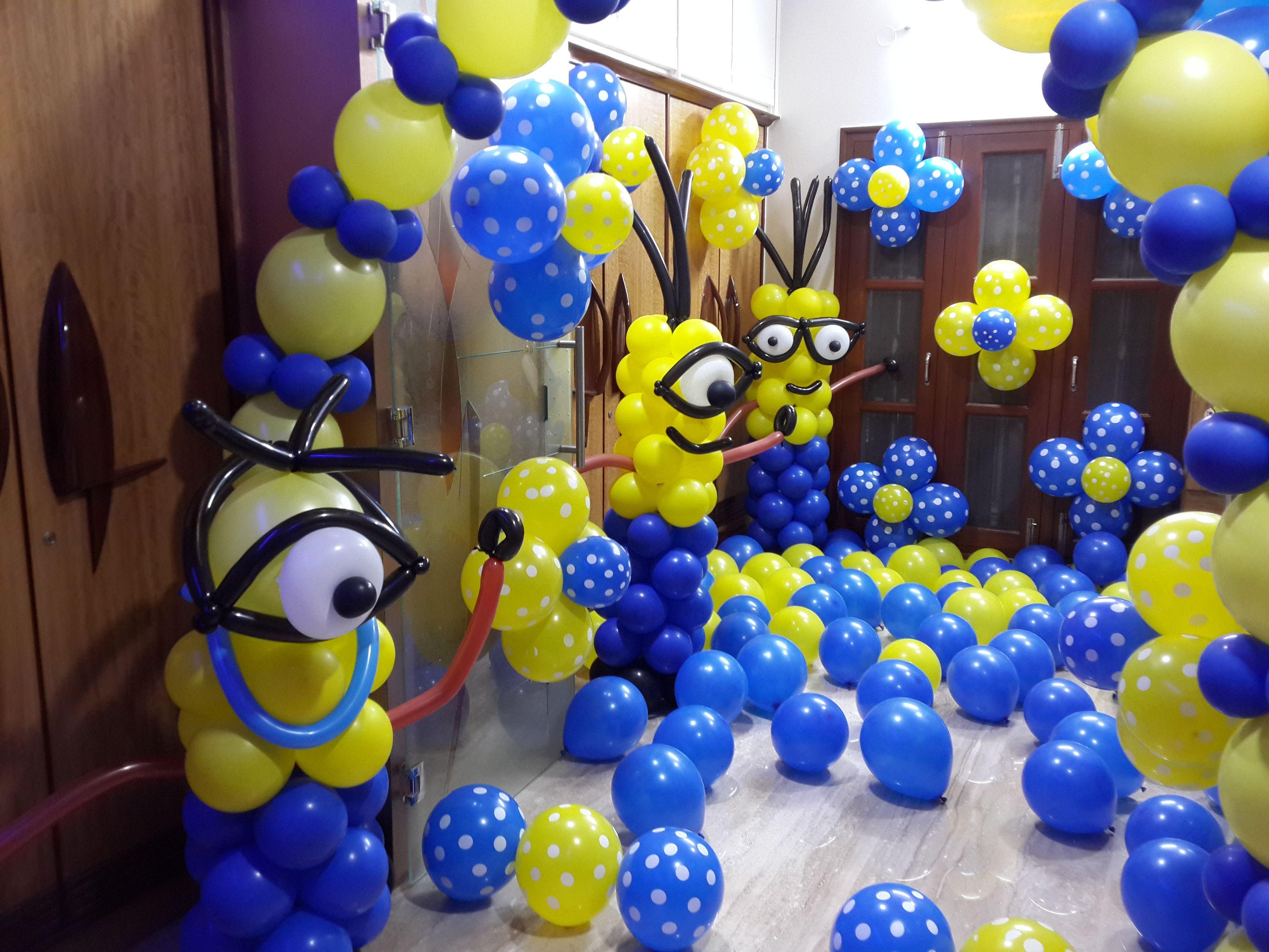 minion theme balloon decoration birthday party ideas. Black Bedroom Furniture Sets. Home Design Ideas