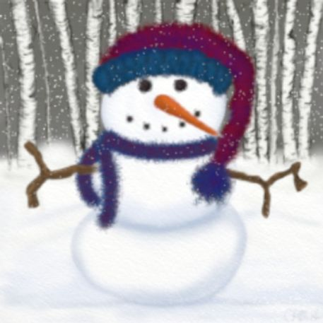 'Puffy The Snowman' by Michelle Brenmark  #OneArtsyMomma on artflakes.com as poster or art print $16.63
