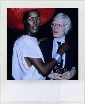 Grace Jones and Andy Warhol at the Grease premiere party at Studio 54, 1978
