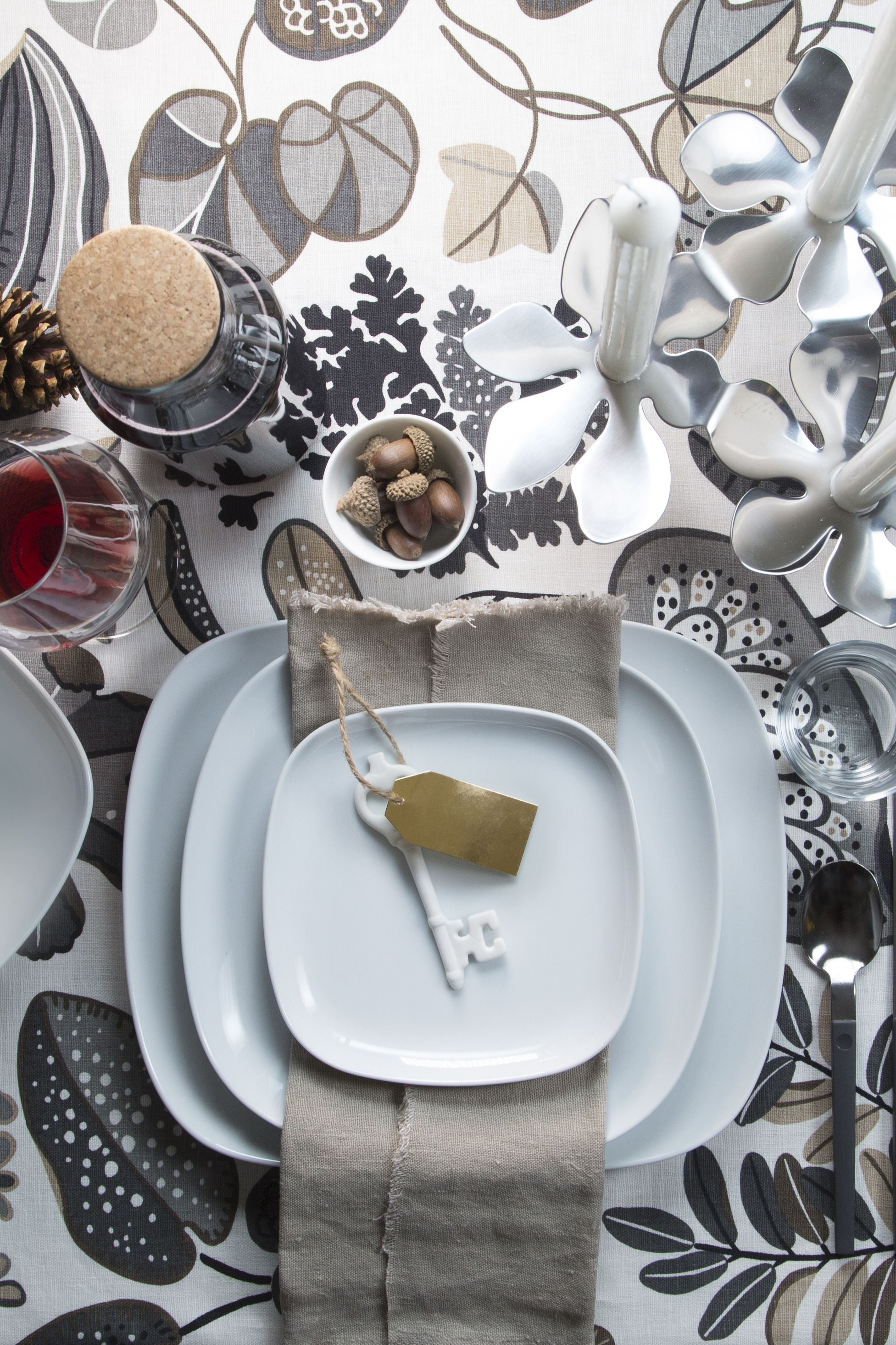 A creative table setting sets the stage for a fun holiday dinner ...