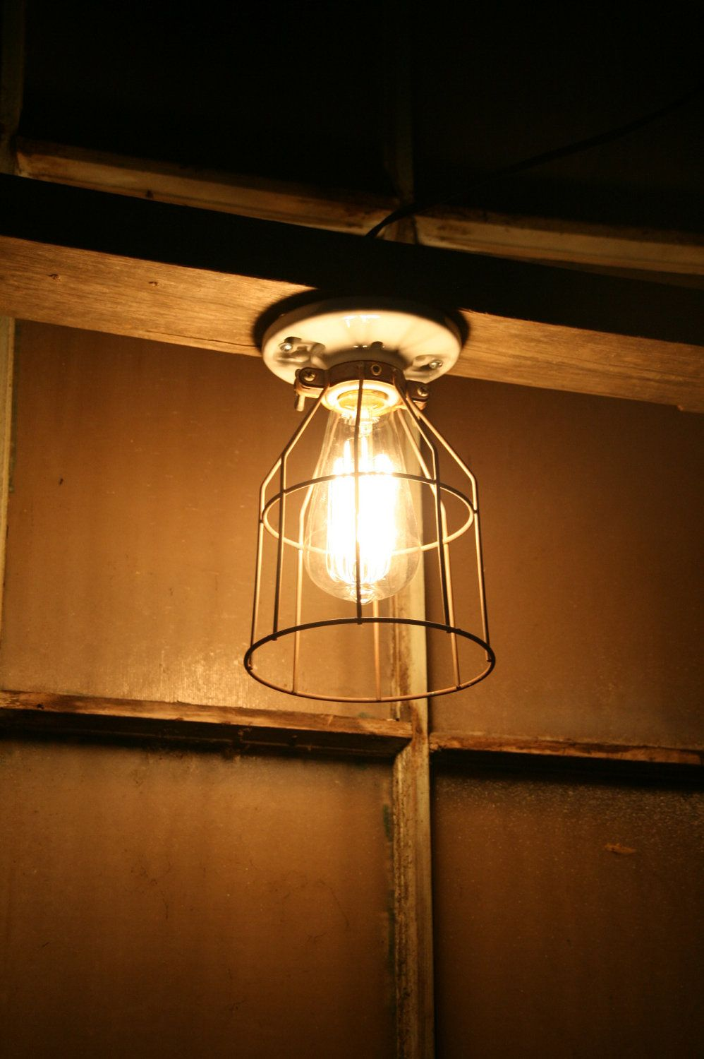Industrial Light Vintage Style Porcelain Mount Fixture With Metal Wire Cage Guard Cage Light Fixture Cage Light Light