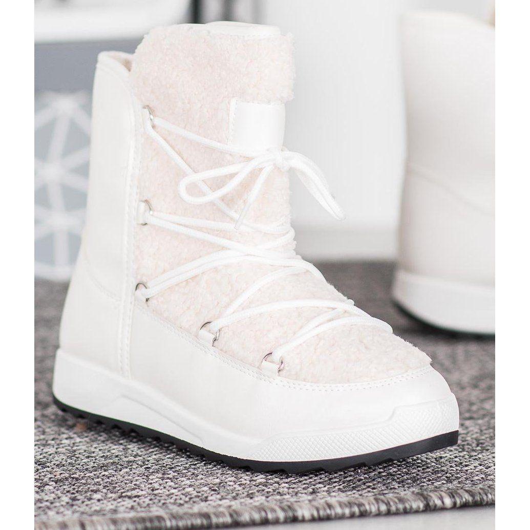 Small Swan Buty Zimowe Z Kozuszkiem Biale Wedge Sneaker Shoes Sneakers