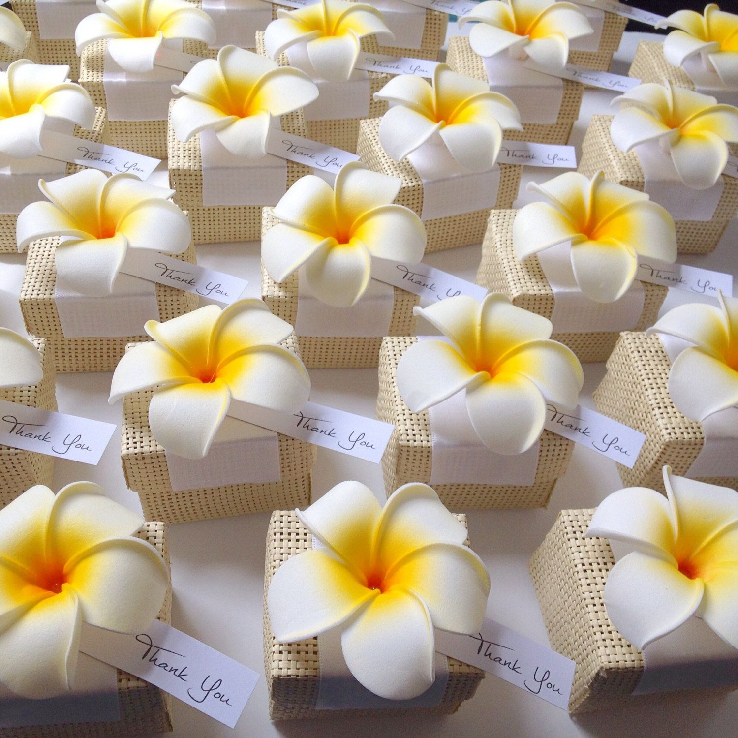 Hawaiian Themed Wedding Ideas: Organic Woven Favor Box With Plumeria Flower Accent