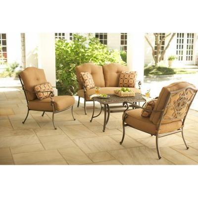martha stewart living miramar ii 4piece patio seating set with tan cushions love - Martha Stewart Outdoor Furniture