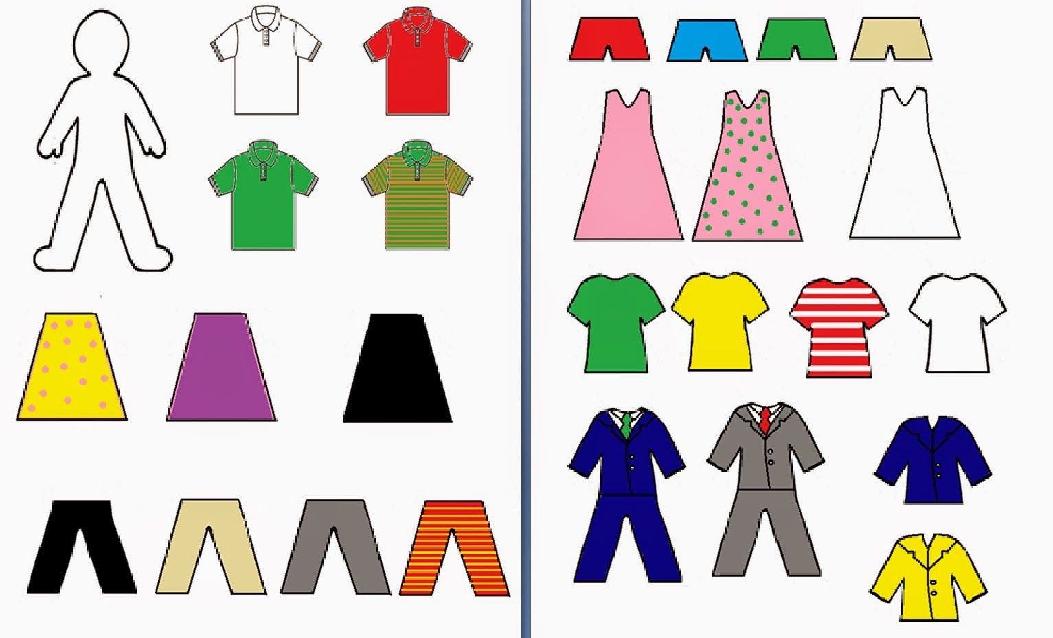 Paper Dolls To Practice Clothing