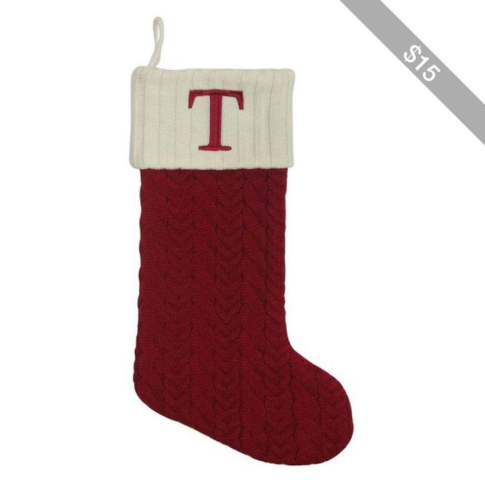 St. Nicholas Square® 21-in. Knit Monogram Christmas Stocking ...