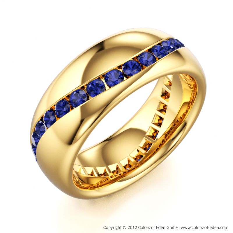 Round Blue Sapphires in 18k Yellow Gold Wave Riding Ring