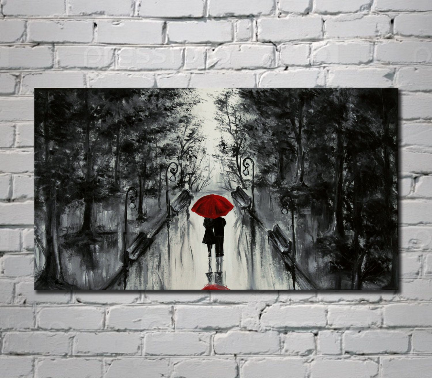 Oil Landscape Painting On Canvas Love Couple Artwork Red Umbrella Living Room Decor Contemporary Art Night