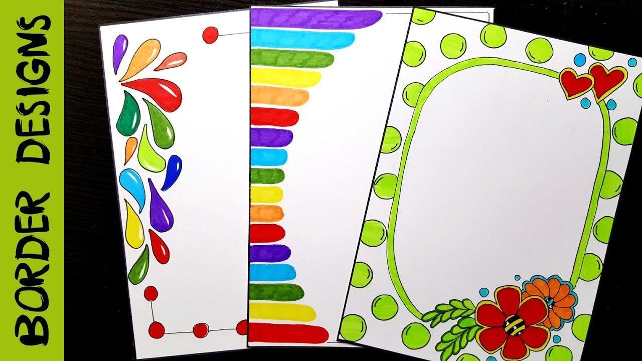 Easy flower border designs on paper project work de also rh pinterest